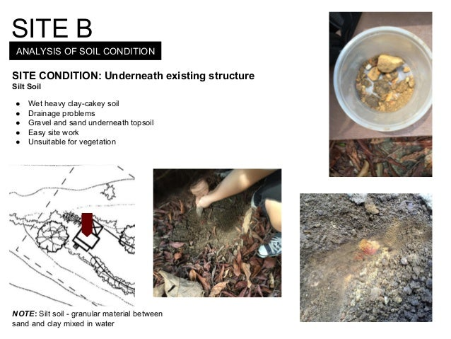 ANALYSIS OF SOIL CONDITION SITE B SITE CONDITION: Underneath existing structure Silt Soil ● Wet heavy clay-cakey soil ● Dr...