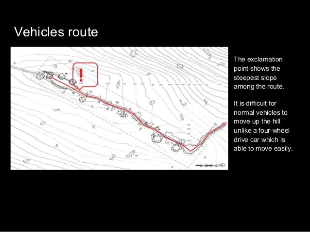 Cyclist route The 3 exclamation points shows the steep slopes. Cyclists would push their bicycles whenever they pass by th...