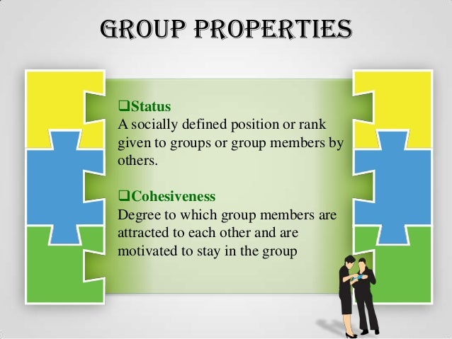 group properties roles norms status size and cohesiveness 2015-2-10 group properties: roles, norms, status, size, cohesiveness,  size 290 property 5: cohesiveness 291 globaiization making global virtual teams effective 292.