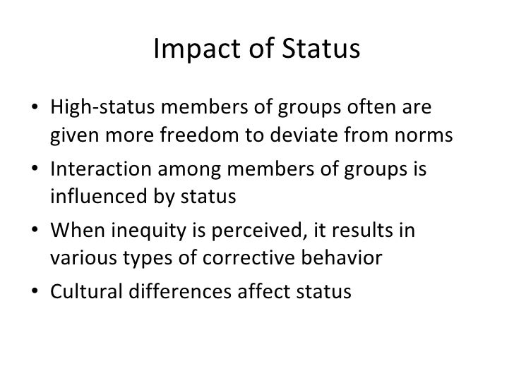how roles and statuses affect behavior Discuss how statuses and roles are related chapter 5 social structure and society 141 expected behavior is often based on master statuses such as gender.