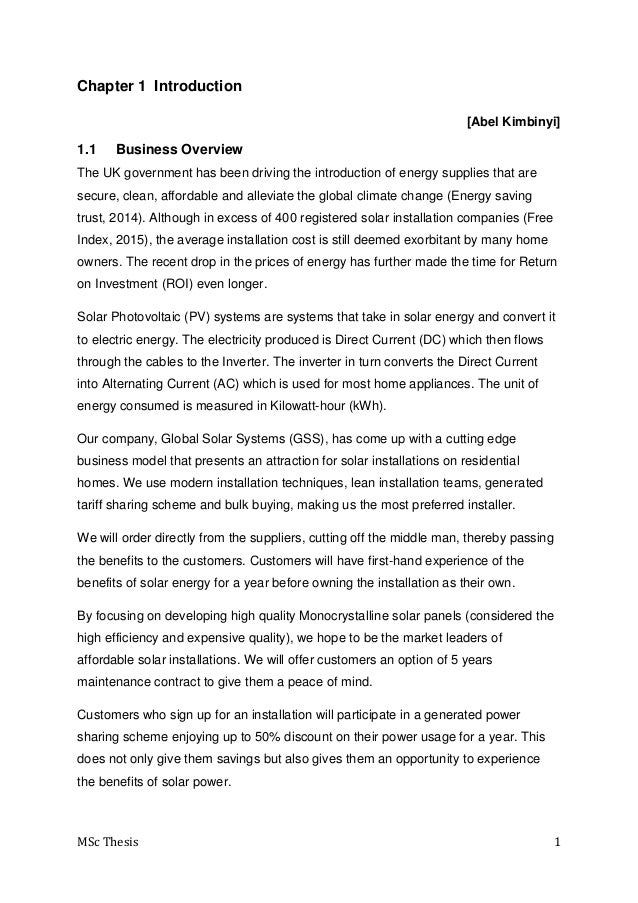 Project on a Business Plan for the Solar system installation on Resid…
