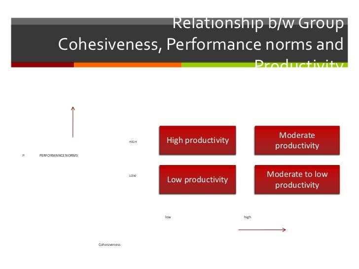 Relationship b/w Group            Cohesiveness, Performance norms and                                      Productivity   ...
