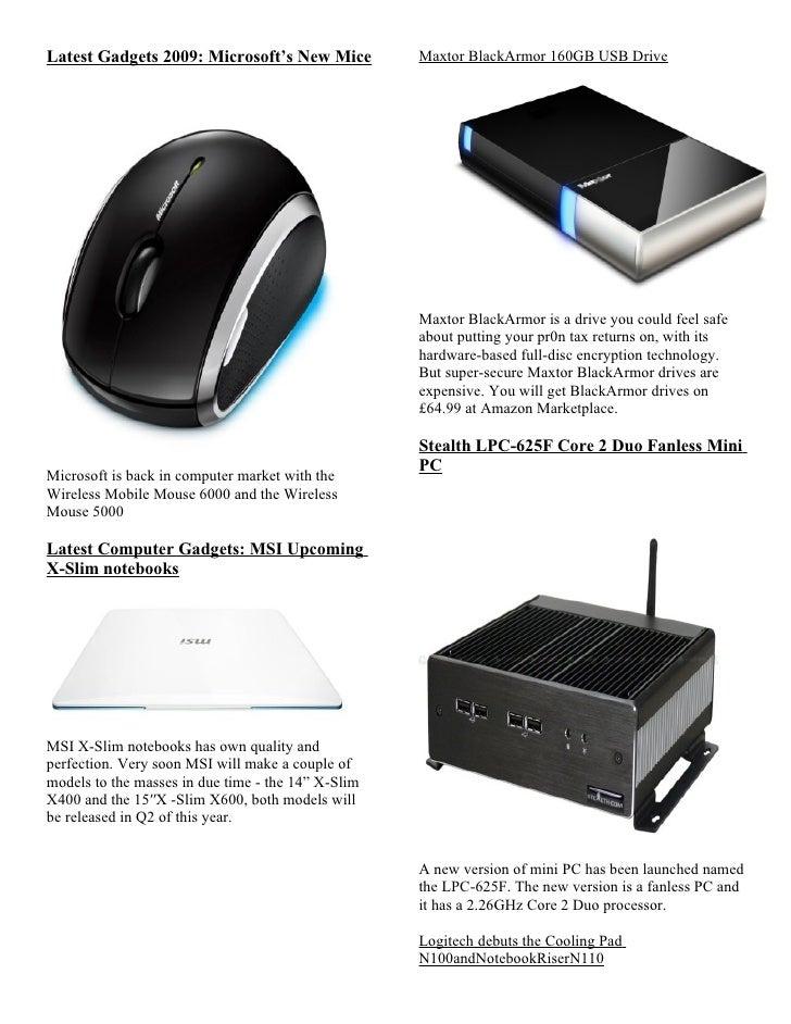 Latest Gadgets 2009: Microsoft's New Mice           Maxtor BlackArmor 160GB USB Drive                                     ...