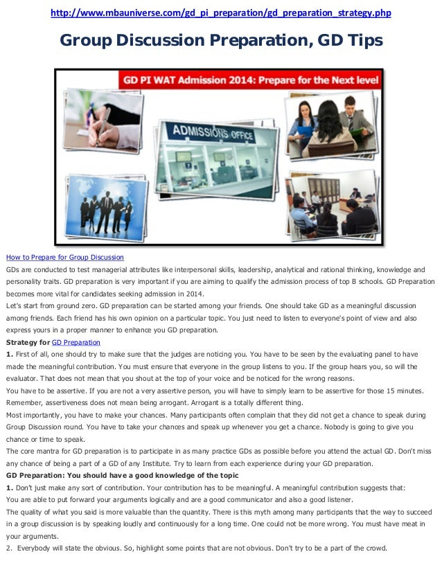 http://www.mbauniverse.com/gd_pi_preparation/gd_preparation_strategy.php  Group Discussion Preparation, GD Tips  How to Pr...