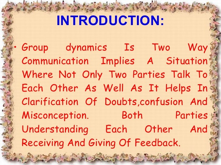 what do you understand by group dynamics