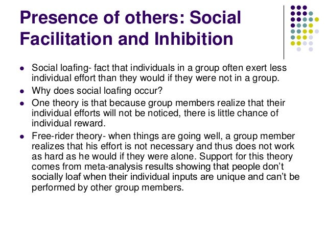 social loafing social inhibition and social facilitation Working in front of others: social facilitation and social inhibition in an early social psychological study, norman triplett (1898) found that bicycle racers who were competing with other bicyclers on the same track rode significantly faster than bicyclers who were racing alone, against the clock.