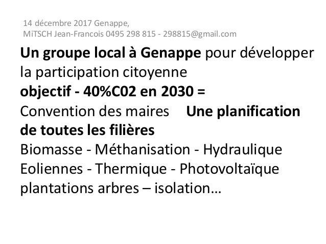 Un groupe local à Genappe pour développer la participation citoyenne objectif - 40%C02 en 2030 = Convention des maires Une...