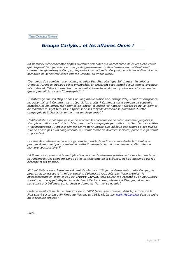 Groupe Carlyle… et les affaires Ovnis !  Ed Komarek s'est concentré depuis quelques semaines sur la recherche de l'éventue...