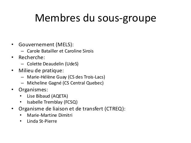 Membres du sous-groupe • Gouvernement (MELS): – Carole Batailler et Caroline Sirois • Recherche: – Colette Deaudelin (UdeS...