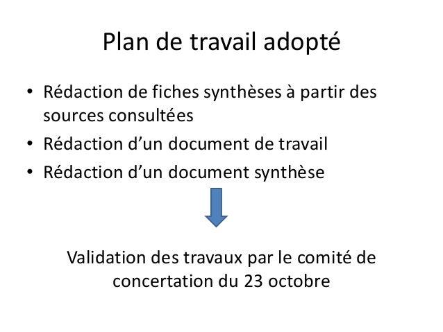 Plan de travail adopté • Rédaction de fiches synthèses à partir des sources consultées • Rédaction d'un document de travai...