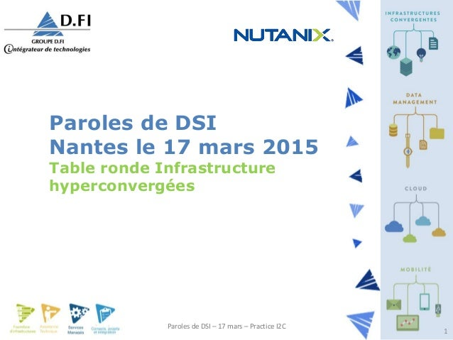 Paroles de DSI – 17 mars – Practice I2C 1 Paroles de DSI Nantes le 17 mars 2015 Table ronde Infrastructure hyperconvergées