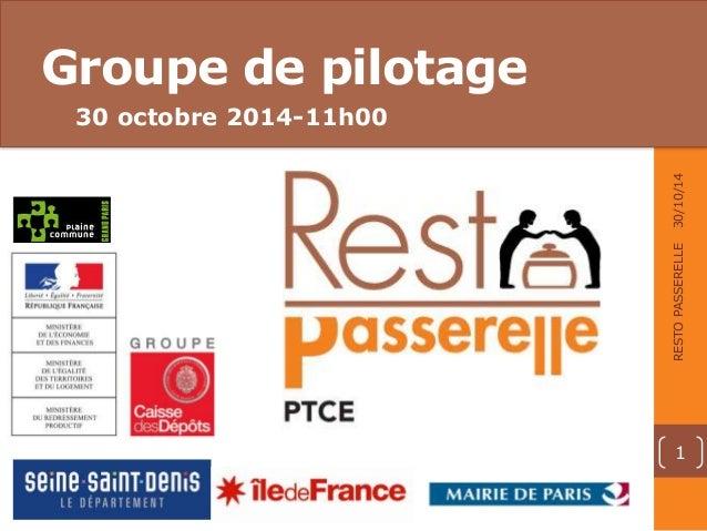 Groupe de pilotage  30 octobre 2014-11h00  02 • TITRE DE LA PARTIE • 00.00.00 • RESTO PASSERELLE  30/10/14  RESTO PASSEREL...