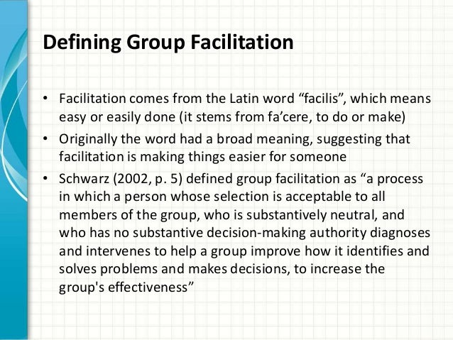group facilitation Want to go further in your facilitation this unique course develops your  leadership, management, community and life skills to harness the power of  groups.