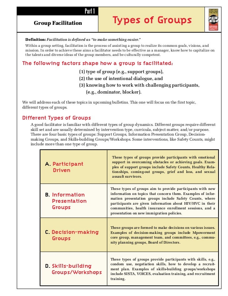 """Part 1      Group Facilitation                             Types of Groups Definition: Facilitation is defined as """"to make..."""