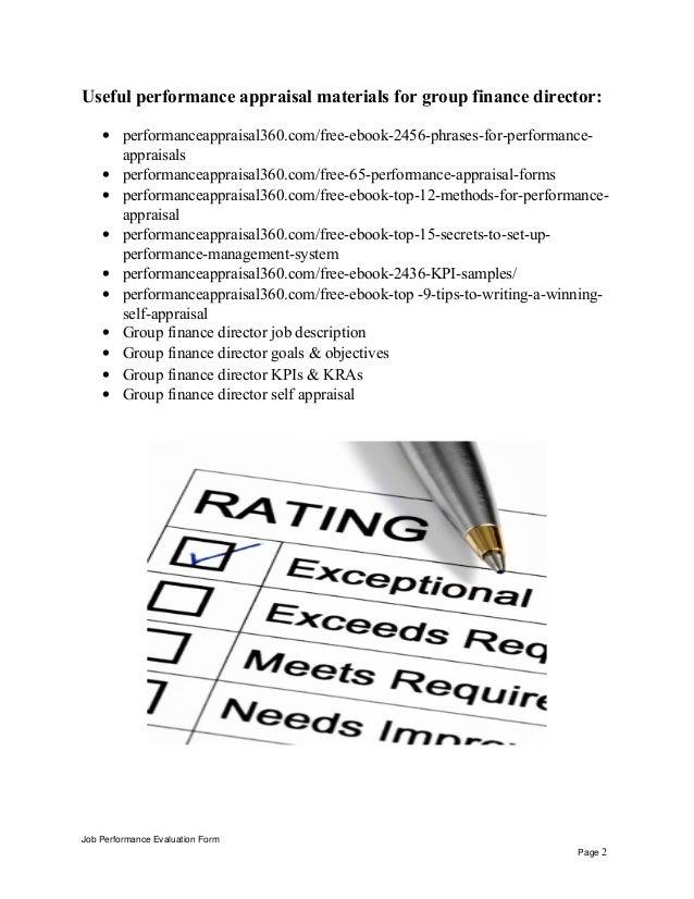 Group finance director performance appraisal – Finance Director Job Description