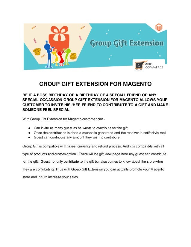 GROUP GIFT EXTENSION FOR MAGENTO BE IT A BOSS BIRTHDAY OR OF SPECIAL