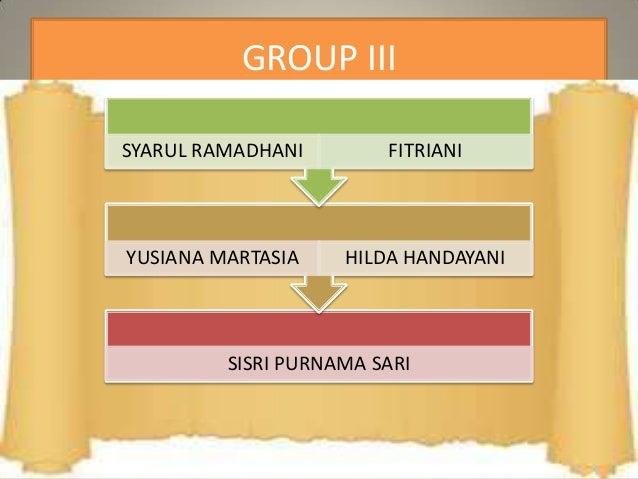 GROUP III SISRI PURNAMA SARI YUSIANA MARTASIA HILDA HANDAYANI SYARUL RAMADHANI FITRIANI