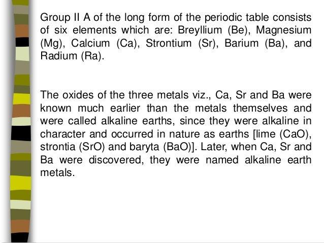 Chemistry Of Alkaline Earth Metals Manik