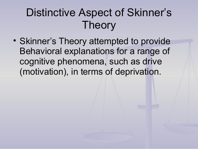 Distinctive Aspect of Skinner's Theory • Skinner's Theory attempted to provide Behavioral explanations for a range of cogn...