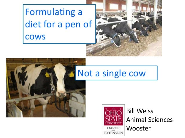 Formulating a diet for a pen of cows Not a single cow Bill Weiss Animal Sciences Wooster
