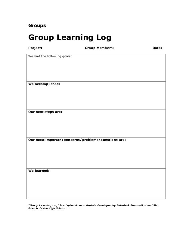 Groups Group Learning Log Project: Group Members: Date: We had the following goals: We accomplished: Our next steps are: O...