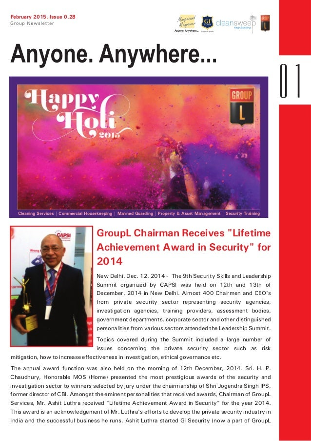 """February 2015, Issue 0.28 GroupL Chairman Receives """"Lifetime Achievement Award in Security"""" for 2014 New Delhi, Dec. 12, 2..."""