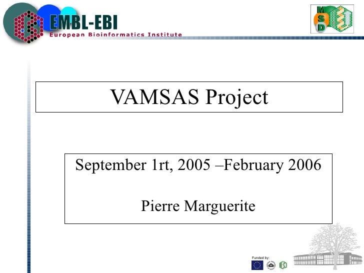 VAMSAS Project September  1rt, 2005 – February  2006 Pierre Marguerite