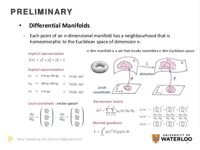 Terry Taewoong Um (terry.t.um@gmail.com) PRELIMINARY 5 • Differential Manifolds Implicit representation Explicit represent...
