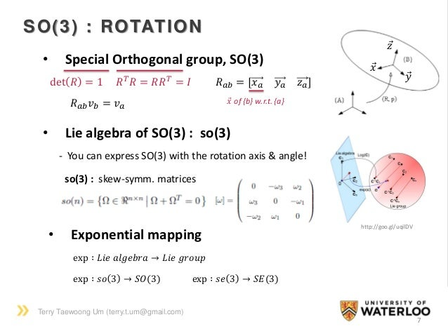 Terry Taewoong Um (terry.t.um@gmail.com) 7 SO(3) : ROTATION • Special Orthogonal group, SO(3) 𝑅 𝑇 𝑅 = 𝑅𝑅 𝑇 = 𝐼det 𝑅 = 1 • ...
