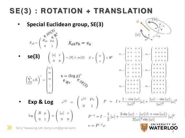 Terry Taewoong Um (terry.t.um@gmail.com) 9 SE(3) : ROTATION + TRANSLATION • Special Euclidean group, SE(3) 𝑋 𝑎𝑏 𝑣 𝑏 = 𝑣 𝑎 ...