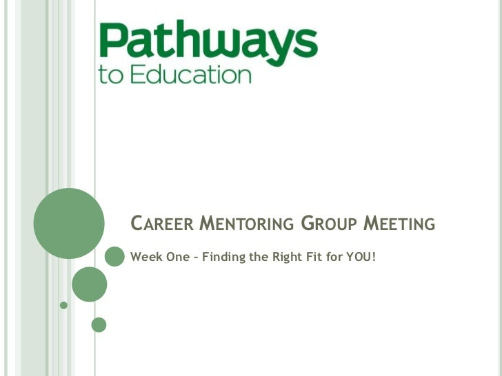 CAREER MENTORING GROUP MEETINGWeek One – Finding the Right Fit for YOU!