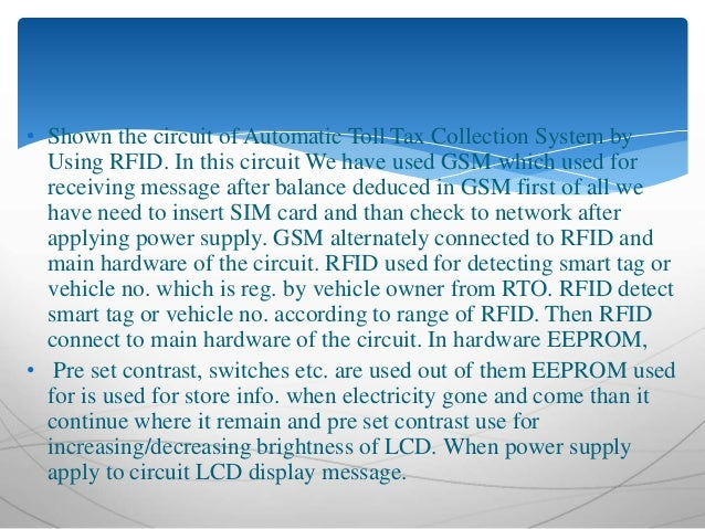 Circuit Diagram Of Rfid Tollcollection System
