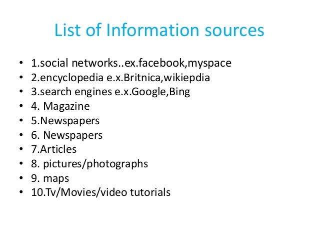 list of sources of information