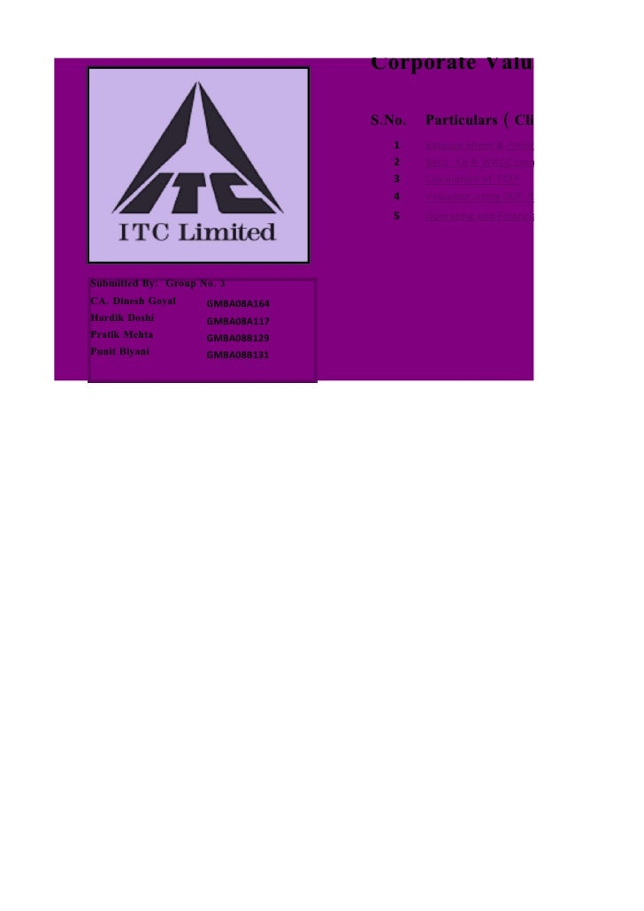 Corporate Valuation - ITC                                    S.No.   Particulars ( Click on item to vie                   ...