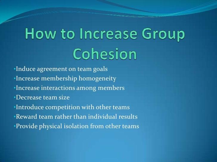 •Induce agreement on team goals •Increase membership homogeneity •Increase interactions among members •Decrease team size ...