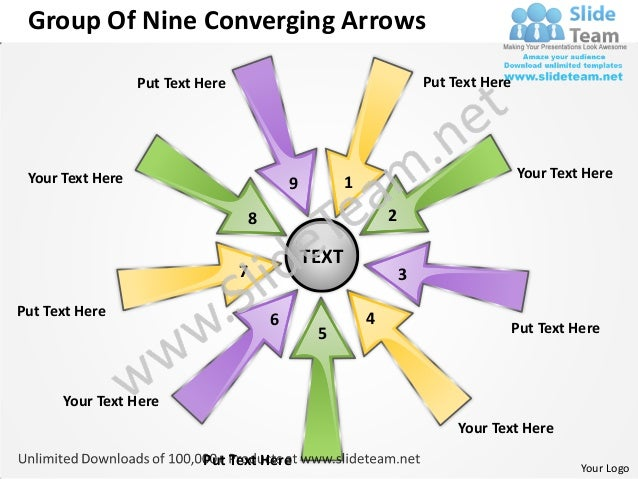 Group Of Nine Converging Arrows                  Put Text Here                                          Put Text Here Your...