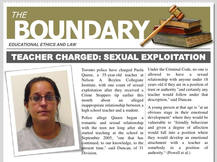 THE<br />BOUNDARY<br />EDUCATIONAL ETHICS AND LAW<br />TEACHER CHARGED: SEXUAL EXPLOITATION<br />Under the Criminal Code, ...