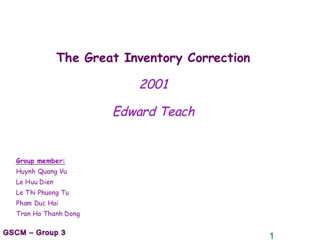 1GSCM – Group 3 The Great Inventory Correction 2001 Edward Teach Group member: Huynh Quang Vu Le Huu Dien Le Thi Phuong Tu...