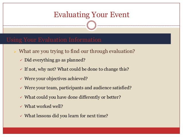 the evaluation of event planning models Learning and evaluation/logic models from meta you can use a logic model to evaluate it—did the inputs you put into planning the event produce the outputs you.