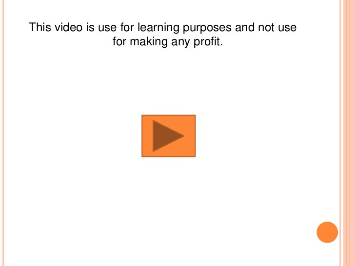 This video is use for learning purposes and not use                for making any profit.