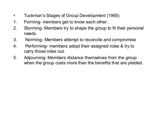 group processes In 1965, psychologist b w tuchman identified four stages of group process: forming storming norming performing over the years, the stages have been expanded to include transforming or adjourning.
