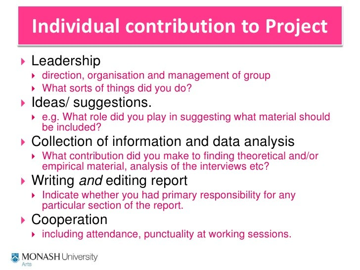 individual report for group project 23032015  individual reflection report on a  undertaking the project the point of writing this report is to  an individual report that has.