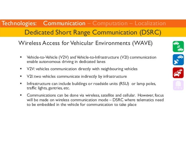 Technologies: Communication – Computation – Localization  Dedicated Short Range Communication (DSRC)  Wireless Access for ...