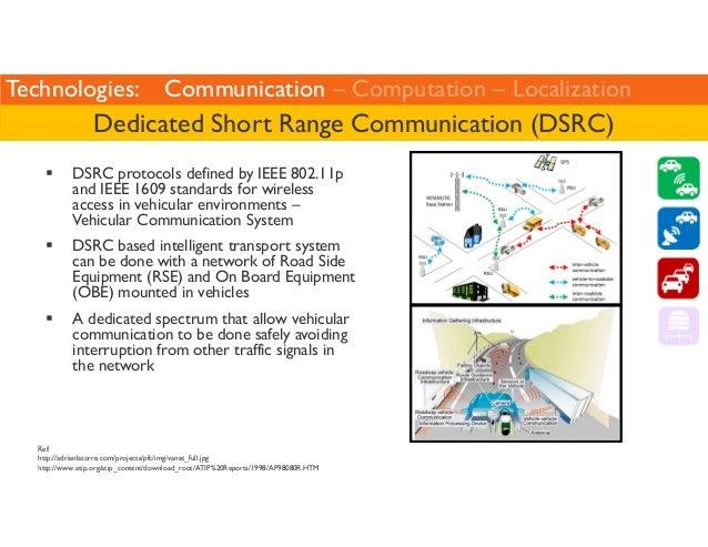 Technologies: Communication – Computation – Localization  Dedicated Short Range Communication (DSRC)   DSRC protocols defi...
