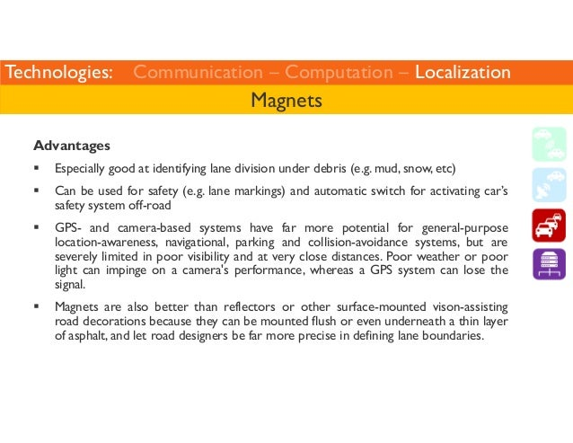 Technologies: Communication – Computation – Localization  Magnets  Advantages   Especially good at identifying lane divisi...