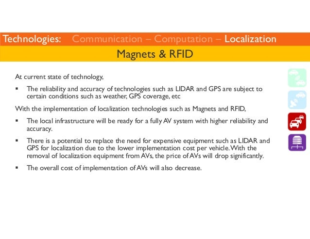Technologies: Communication – Computation – Localization  Magnets  RFID  At current state of technology,   The reliability...