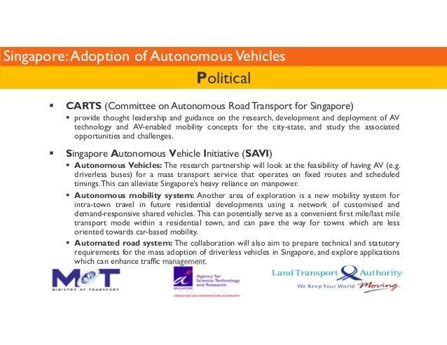 Singapore: Adoption of Autonomous Vehicles  Political   CARTS (Committee on Autonomous Road Transport for Singapore)   pro...
