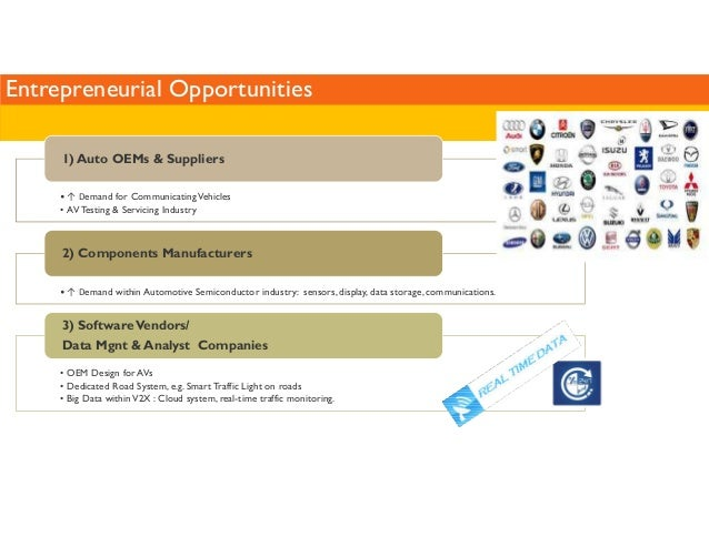 Entrepreneurial Opportunities  1) Auto OEMs  Suppliers  •↑ Demand for Communicating Vehicles  • AV Testing  Servicing Indu...