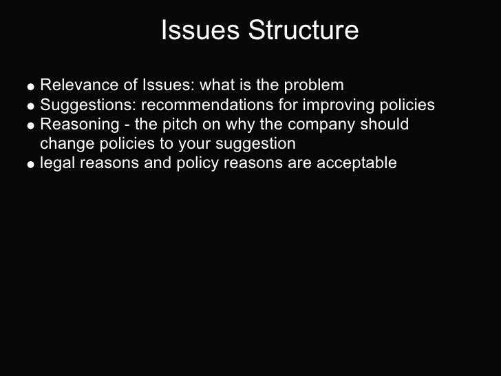 Issues StructureRelevance of Issues: what is the problemSuggestions: recommendations for improving policiesReasoning - the...
