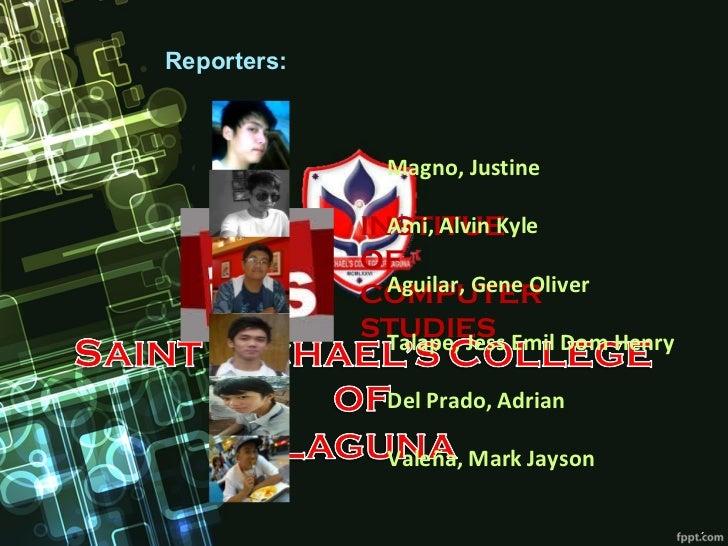 Reporters:              Magno, Justine               Ami, Alvin Kyle             INSTITUE             OF               Agu...